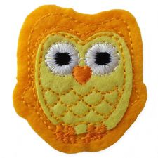 YELLOW OWL MOTIF IRON ON EMBROIDERED PATCH APPLIQUE